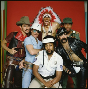 Portrait of the original members of the American disco group The Village People, from left to right: Randy Jones (the cowboy); David Hodo (the construction worker); Felipe Rose (the American Indian); Victor Willis (the cop); Glenn Hughes (the leatherman) and Alexander Briley (the G.I.). (Photo by CBS Archive/Getty IMages)